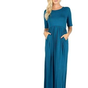 Dresses & Skirts - NWT Teal Pleated Waist Maxi Dress with Pockets